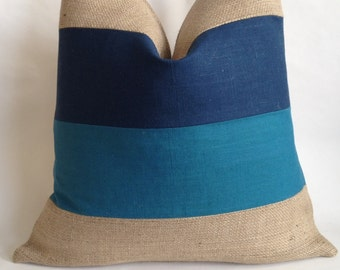 Teal and Blue Linen/Cotton Fabric and Natural Burlap Pillow Cover