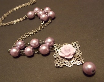 Lilac Rose and Pearl Necklace