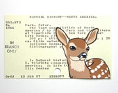 Deer Fawn on Library Card - Print of fawn painted on library card catalog card for The Land and Wildlife of North America