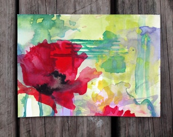 "Archival Print of ""Mint and Lemon Red Poppy"""