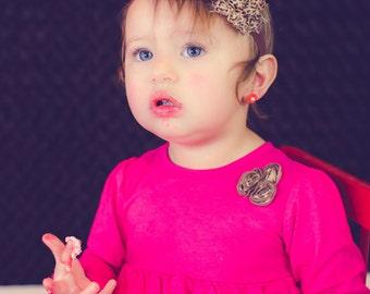 baby and toddler headband, cheetah print headband any size