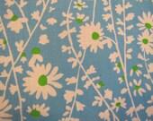 1970's Blue Daisy Chain Fabric,  Floral Fabric, Quilters Weight, Blue, Cotton, 1970s Fabric, Daisy Fabric, Floral