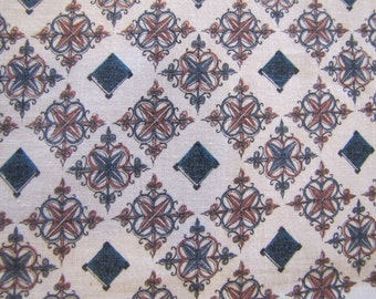 1950s MCM Print, Mid Century, Mid Century Modern, Quilters Weight Fabric, Cotton, Modern Fabric, 1950's Fabric, Blue, Brown