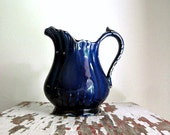RESERVED for Gracie - Vintage Blue Glazed Pitcher