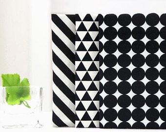 Fat Quarters Bundle Cotton Fabric - Black Geometric - Set of Three - 55440