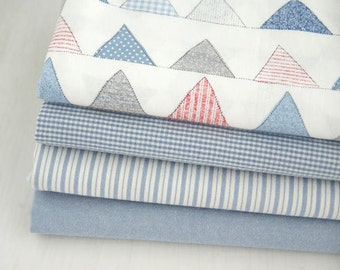 Blue Cotton Fabric - Flag, Plaid, Stripe or Solid - By the Yard 60265