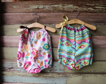Navajo Bubble Romper, baby girls, floral playsuit, coming home outfit, newborn, 3 months, 6 months, 12 months, 18 months