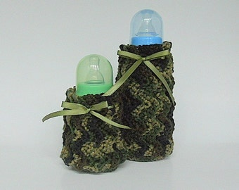 Camouflage Baby Bottle Covers Two Cozies 2 Green Camo Cozy Boy Hunting Feeding Set Small And Large Newborn Girl Shower Gift
