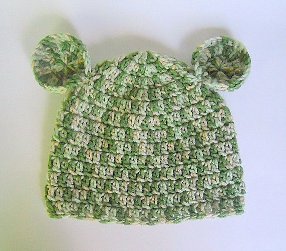 Boy Hat With Ears  5 Years To Preteen Girl  Beanie Skullcap Children Fall Cap Green Tan  Winter Clothing Accessory