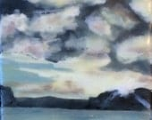 end of the day - 4x4 - original encaustic painting peaceful, impressionist, landscape, seascape, clouds, sunset, sunrise