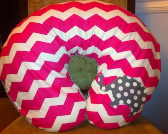 Pink chevron elephant nursing pillow cover