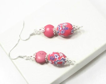 Pink Clay Gemstone Dangle Earrings, Spring Jewelry Fashion, Pink Easter Earrings,