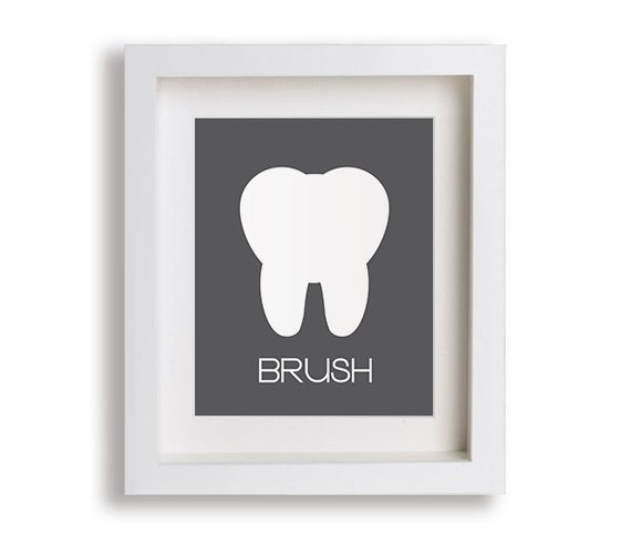 Brush - Kids Bathroom Art, Kids Bathroom Decor, Children's Wall Art, Bathroom Art, Kids Bathroom, Brush Your Teeth, Tooth