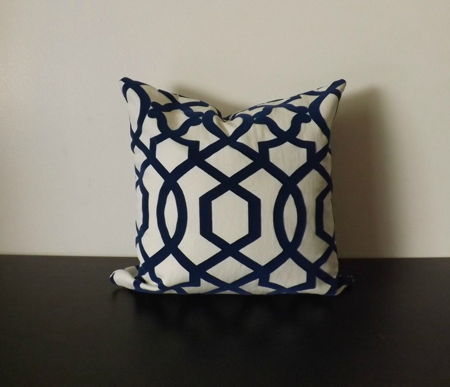 Iman Luna Decorative Pillow Cover Cream and Navy Pillow
