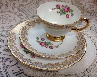 Rosina/Equisite Tea Cup & Saucer Trio / Made in England Fine Bone China / Wedding Gift / Five Trios Available