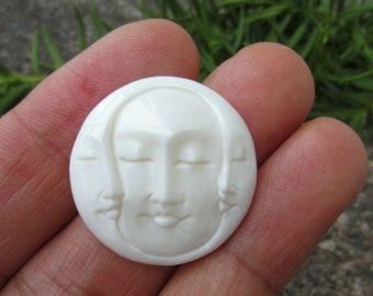 SALE 25 mm Gorgeous Hand Carved Three Face Cabochon with closed Eye, Bone Component, Cabochon for Setting B4892