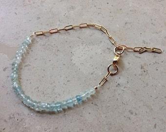Blue Beryl Aquamarine with 14kt Gold Filled Chain  Bracelet