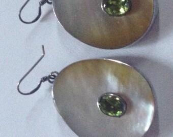 Very Cool Vintage Sterling, Mother of Pearl & Peridot Post Earrings