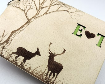 Forrest Deer Guestbook, Custom Rustic Wood Wedding Guestbook, Wooden Wedding Guest Book