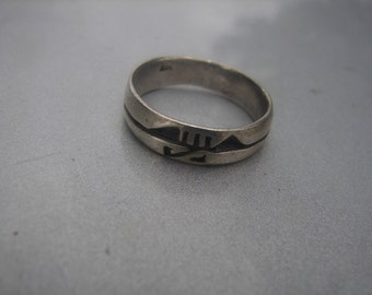 Sterling Silver Band w/ Carvings size 7 1/4.  359.