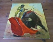 Vintage Matador Bullfight  Picture - Heavy Textured Cardboard Picture Unframed of Spanish Matador Fighting a Bull