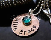 D2E hand stamped  lucky penny pendant with Swarovski Birthstone on Sterling Silver necklace, Mothers Jewelry