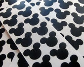 20 Mickey Mouse Black Glossy VINYL STICKERS  Seals - 2 inch