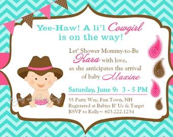 Cowgirl Baby Shower Invitation Boy Invitation Cowgirl Shower Invitations  Printable Invitation Printable Baby Shower Invitations Cowgirl