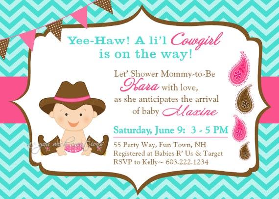 Cowgirl Baby Shower Invitation Boy Invitation Cowgirl Shower