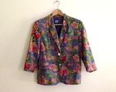 Vintage Gap Deep Periwinkle Blue & Pink Floral Print Blazer // 90s Linen Cotton Blend Blazer // Hipster // Menswear // Indie //