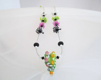 Heart Necklace green glass lampwork bead and crystals
