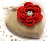 Wooden Heart Pendant - Bridal Decoration - Home Ornament - Red and Ivory - Home&Living - Crochet flower