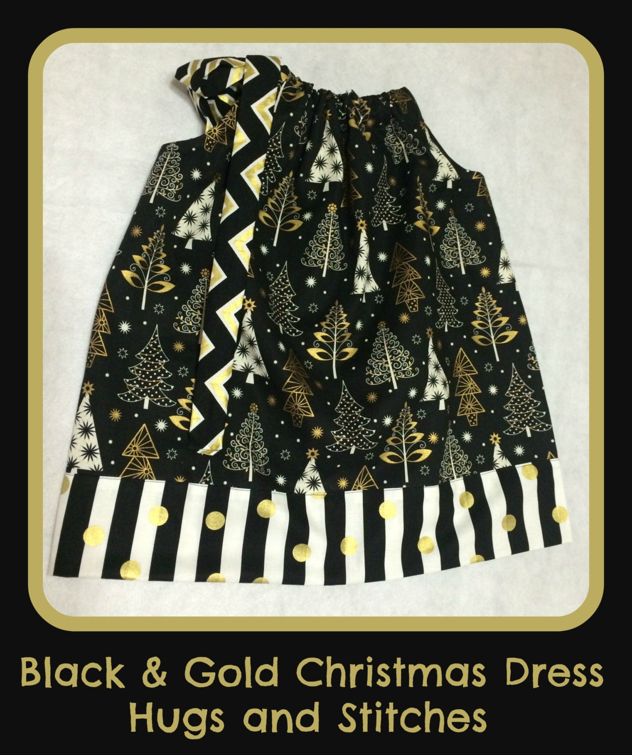Black And Gold Christmas Pillowcase Dress By
