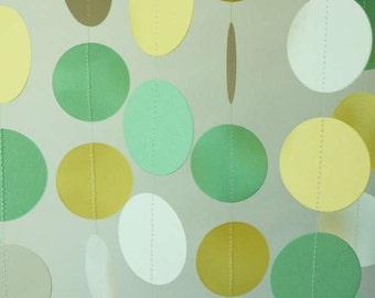 Baby Shower Decor, Gender Neutral Baby Shower Garland, Yellow, Green, White Paper Garland
