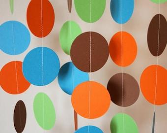 Boy's Birthday Party, Blue, Green, Orange & Brown Garland, Boy's Baby Shower Decor, Baby Boy's 1st Birthday Party