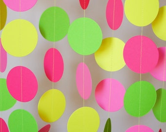 Girl's Birthday Garland, Pink, Green, Yellow Paper Garland, Girl's 1st Birthday, Mother's Day, Birthday Party Decorations, 10 ft. long