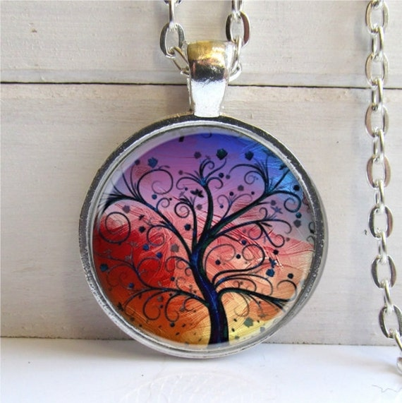 Tree Pendant, Whimsical Tree Necklace, Tree Jewelry