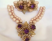 Haskell? Cluster Demi Necklace Bracelet Vintage Floral Pink Faux Pearl Amethyst Rhinestone Parure Gold Filigree Robert? Eugene? Unsigned