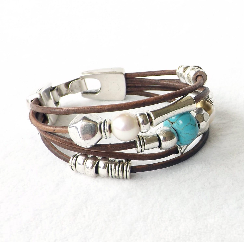 turquoise pearl leather bracelet best seller sundance style. Black Bedroom Furniture Sets. Home Design Ideas