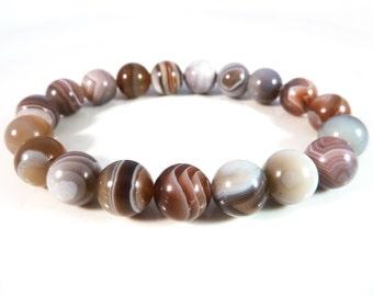 Botswana Agate Stretch Bracelet 10mm Gemstone Smooth Round Bead