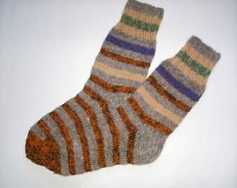 Men Wool Socks -Hand Knitted Wool Socks For Men-Colorful socks-Size Large US 11,5,EU45 -Handmade Wool Socks -House Wool Socks