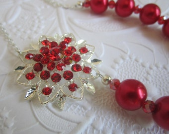 Red Bridesmaid Necklace Red Wedding Maid of Honor Bridesmaid Gift