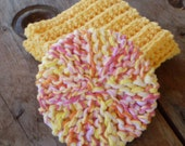 Crochet Cotton Facial Cloth / Facial Scrubbie Set - Hand Made, Cotton Yarn & Tulle - Yellow/Playtime - ECO Friendly - 9 inch Wash Cloth