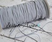 Grey Skinny elastic, 1/8 inch elastic, 5 yards or 10 yards - Elastic by the yard - Thin Elastic - DIY Headbands, foe elastic, supply
