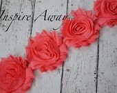 BRIGHT CORAL Shabby Chiffon Flower Trim - Your choice of 1 yard or 1/2 yard -  Chiffon Shabby Rose Trim, DIY headband supplies,