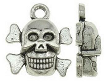15pc 14x13mm antique silver finish skull  pendants-8474