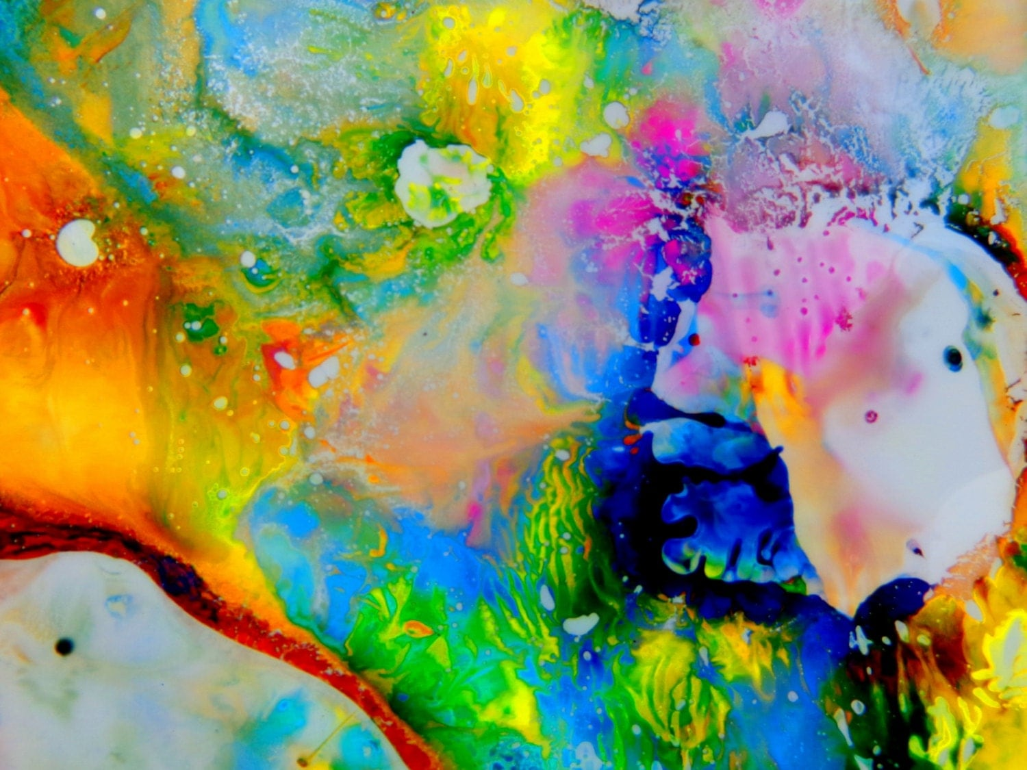 Psychedelic art abstract painting print colorful wall art for Colorful wall art