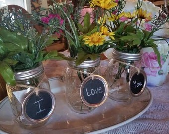 Mason Jar Chalkboard  - LIDS ONLY. Table Numbers. Party Favors. Any Occasion Vase.