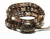 Leather Wrap Bracelet - Botswana Agate Stone, Brown leather - Bohemian Artisan Chic