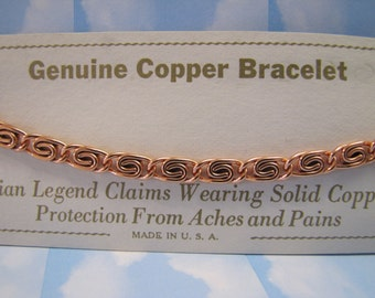 Vintage 1970's Solid Copper S link Chain bracelet Jewellery Retro Jewelry Gift New Old Stock